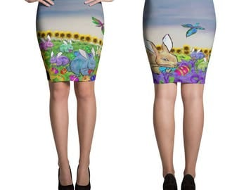 Easter Holiday party pencil or mini skirt from my artwork