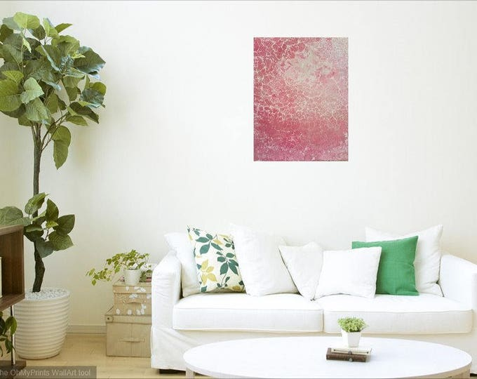 Original fluid painting on canvas - 'Rock Salt' - Rose Quartz