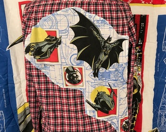 Batman Shirt By Maria B. DC Comics Vintage Batman 1992 Fabric. Eco. Flannel. Size Large.