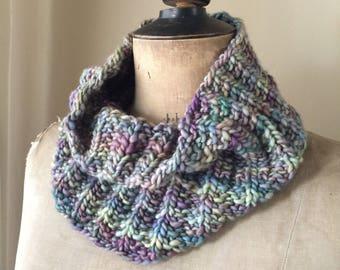 Hand knit blue, green and purple Malabrigo cowl scarf