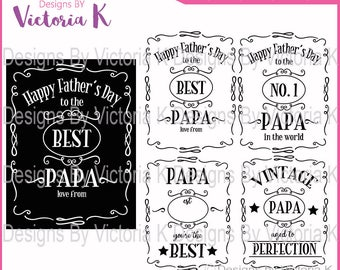 2 Frames included - Father's Day svg, Papa svg, Vintage Papa, Dad Clipart, SVG, DXF, EPS Files, Cricut Design Space, Vinyl Cut Files
