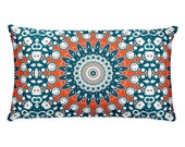Funky Pillow, Blue and Orange Throw Pillow, 20x12 Lumbar Pillow, Decorative Mandala Cushion