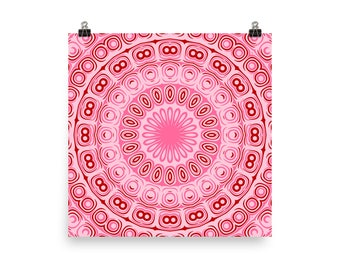 Wall Art Pink and Red, Mandala Art Prints, Abstract Pink Home Decor Accents