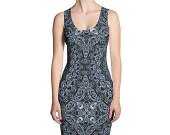 Dark Blue Dress, Bodycon Dress, Stretchy Sleeveless Dress, Blue Patterned Dress