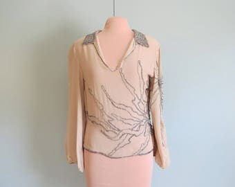 Designer Beaded Silky Top Special Occasion Blouse. Size Small