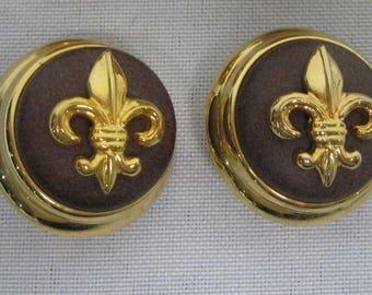 JOAN RIVERS EARRINGS - Clip On Earrings Fleur de Lis in Brown  - S2303