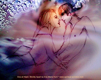 One at Heart Worlds Apart by Eva Maria Hunt - Print, Poster A4 - Love, Relationship, Feng Shui