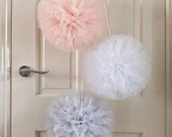 Pom poms, Pink Nursery Decor, Hanging Pom Poms, Pom Pom Decor, Bedroom Pom Poms, Pink Pom Poms, Baby Shower Gift