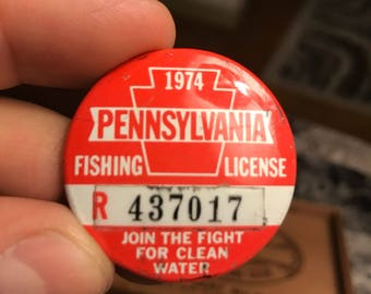 1974 Pennsylvania Fishing License . Pa fishing license .