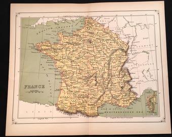 1873 Map of France, Original Antique Map, Unique Color Map