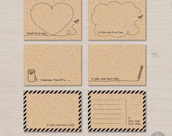 Personalized note cards printable, brown kraft paper, paper plane, pencil, note cards with lines, envelopes, a little note, set of 12