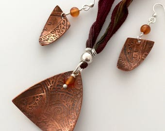 Earthy Organic Bohemian Etched Copper Necklace & Earrings; Handcrafted Copper Jewelry