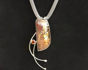 Boulder Opal Fire Citrine Sterling Silver Artisan Jewelry Hand Crafted OOAK Pendant