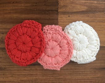 Handmade reusable crochet face scrubbies-crochet makeup removers-circle wash cloth-environmentaly friendly-washable-red-pink-white