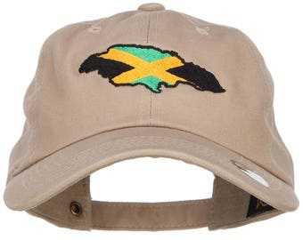 Jamaica Flag Map Embroidered Unstructured Cap