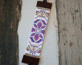 Boho Bracelet,Embroidered Cuff,Floral Embroidered Bracelet,Crossstitch Bracelet,Leather Bracelet,Embroidered Bracelet,Leather Cuff,
