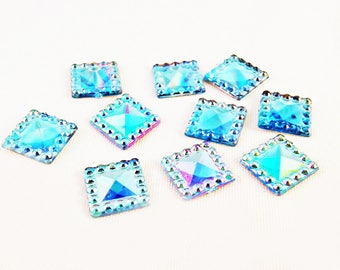 ICI39 - Set of 10 jelly square faceted Crystal 12mm acrylic resin craft Scrapbook electric Violet Blue reflections