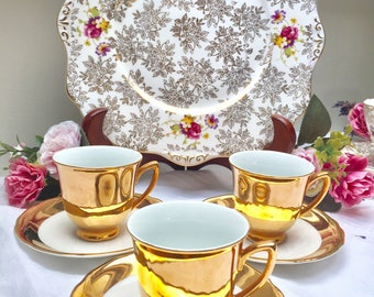 Set of Three Gorgeous Gold Vintage Demitasse Cups
