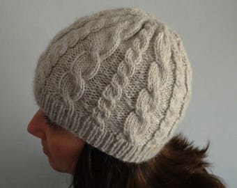 Cream beige knitted warm cable hat / wool, soft, winter accesory, stretchy