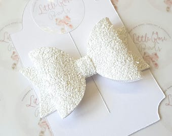 Baby/Girl Glitter Hair Bow -White Glitter Bow- Christening - Christening Headband- Wedding Hair-Baby Bow - Glitter Hair Clip - Baby Headband