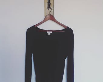 Black Merino Wool Pullover/ Large Black Wool Sweater/ Soft Pure Wool Black Sweater
