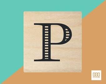 Modern Alphabet-P - 3cm Rubber Stamp (DODRS0170)