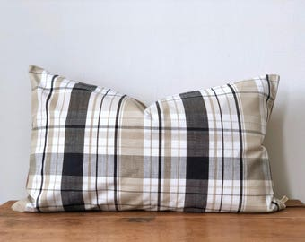 "Farmhouse Check and Flannel Pillow Cover 16"" x 26"""