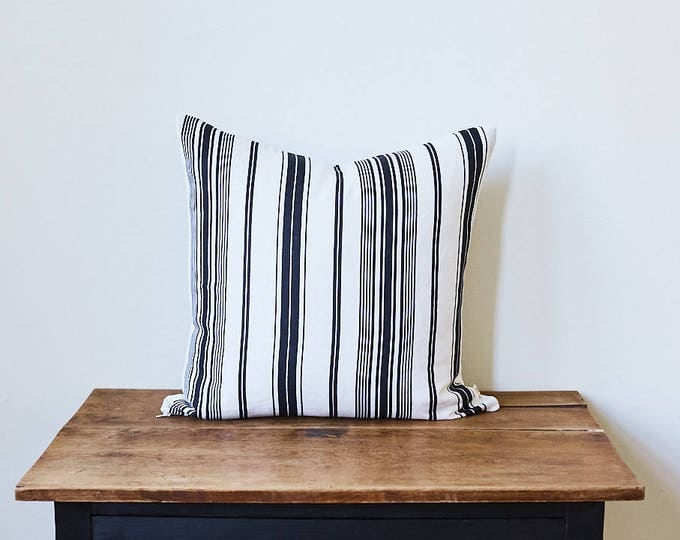 "Black and White Stripes Fabric Pillow 20"" x 20"""