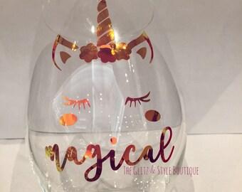 Personalized Unicorn Stemless Wine Glass