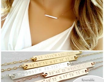 Custom Coordinates Necklace | Bridesmaid Gift | Personalized Bar Necklace | Latitude Longitude | Name Necklace (40x4) | Dainty Necklace
