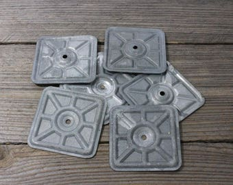 """Galvanized sheet metal squares, 3"""" by 3"""" each. Priced at 2 for a dollar"""