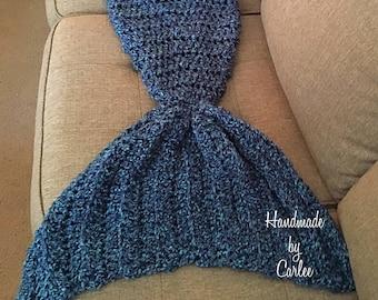 Mermaid Tail blanket in Rich Blues, Child mermaid tail blanket, adult mermaid tail blanket, mermaid