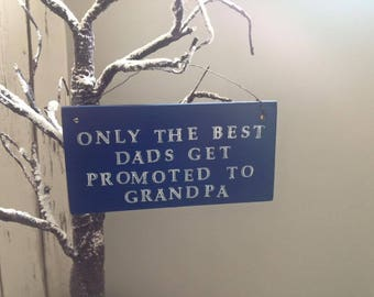 Father's Day Best Dad Grandpa hanging Plaque Blue