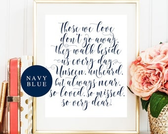 Memory sign Those we love don't go away Nautical wedding Memorial wedding sign Navy blue wedding decorations Remembrance candle sign #vm23