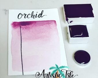 Orchid, Watercolor, handmade Watercolor, half pan, full pan, travel size, artist psint, handmade paint, artistic isle