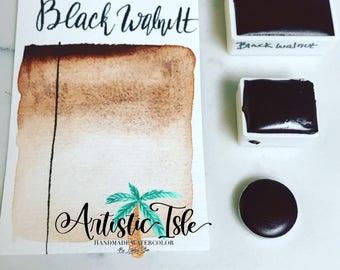 Black Walnut, handmade Watercolor, artist paint, handmade paint, watercolor, half pan, full pan, travel size,