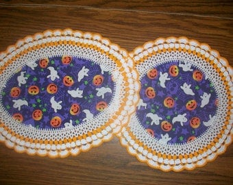 Set of 2 New Handmade Crochet Doilies/Halloween/Ghosts/Jack-O-Lanterns/Skulls/Spider Webs