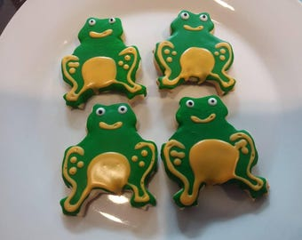 Frog Sugar Cookies - Garden Party Favors - Birthday Party - Homemade Cookies