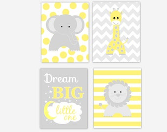 CANVAS Baby Nursery Wall Art Yellow Gray Elephant Giraffe Lion Safari Jungle Decor Dream Big Baby Nursery Decor Canvas  CHOOSE COLOR