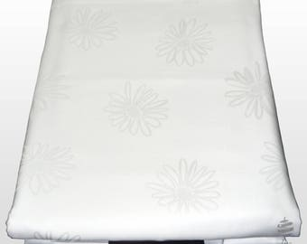 Set of Single Satin Bed Sheets - 100% Percale Cotton - Flowers Pattern