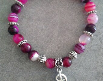 "Energized ""Anchor and luck"" bracelet in pink striped Agate, angel wing"