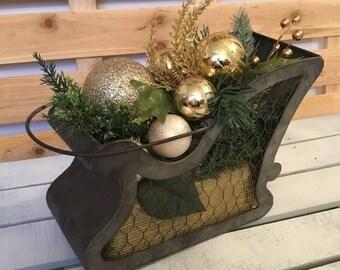 Christmas Sleigh, Christmas Decor, Christmas Centerpiece, Gold Ornament Decor, Gold Sparkle Decor, Tin Container Decor