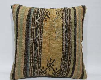 16 x 16inch 40x40cm Kilim Pillow Cover,Vintage Turkish Kilim Pillow,Decorative Pillow,Tribal Pillow,Home Decor Pillows Cushion Covers   2630