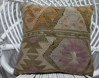14x14 kilim pillow 14x14 Turkish pastel pillow 14x14 vintage kilim pillow throw pillow handwoven kelim kissen geometric pillow pale 207