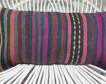 purple kilim pillow lumbar pillow rustic pillow striped pillow throw pillow cushion cover boho kilim pillow
