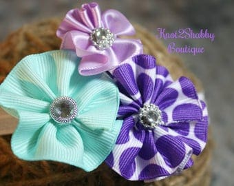 Mint Green, Light Purple and Dark Purple Cluster Bow with headband