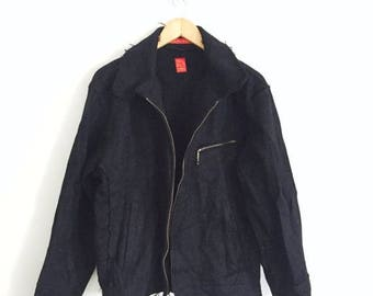 "SALE 20% RARE Indian Motorcycle Co. by TOYO Enterprise Co. The Iron Redskin size 40 Wool Zipper Jacket Armpit 23""x28""Rare Sugar Cane Style E"