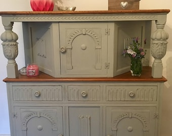 Hand Painted, Shabby Chic, Antique, Carved, Oak Dresser, Sideboard, Court Cupboard