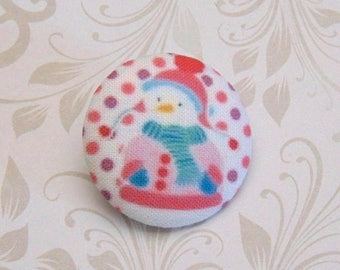 x 1 button 19mm fabric snowman snow pea pink ref A27