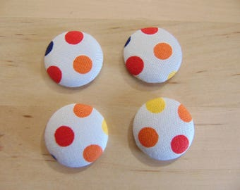 x 4 cabochons 20mm red polka dots and orange ref fabric TOUR9